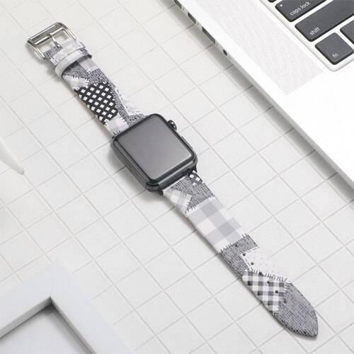 Bracelet cuir Patchwork Femme pour Apple Watch