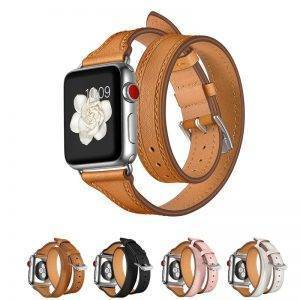 Bracelet Double Tour Apple Watch Femme Cuir véritable