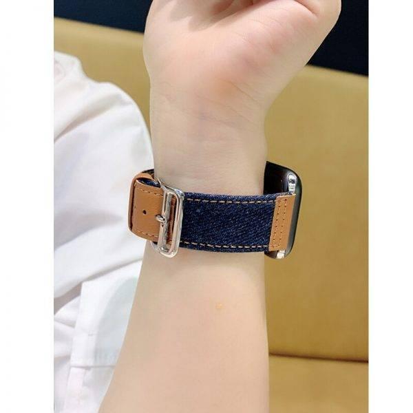 Bracelet Denim et Cuir pour montre Apple