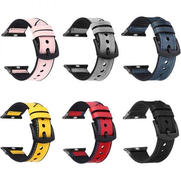 Bracelet Sports hybride Cuir et Silicone pour Apple Watch