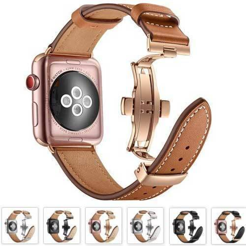 Bracelet Apple Watch Luxe Cuir véritable Boucle Papillon Apple Watch accessoires Bracelet Apple Watch Bracelets Cuir Apple Watch
