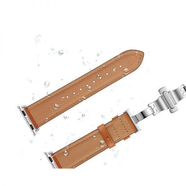 Bracelet Apple Watch Luxe Cuir véritable Boucle Papillon
