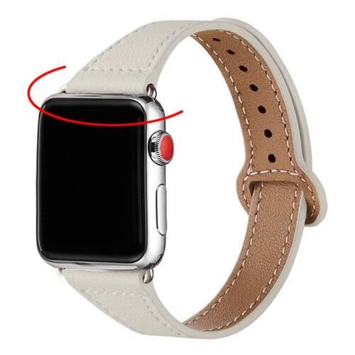 Bracelet mince en cuir Femme pour Apple Watch