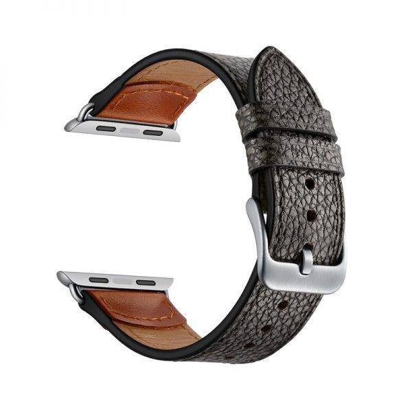 Genuine Leather strap for apple watch 4 5 band 44mm 40mm 42mm 38mm bracelet Stone pattern watchband for iwatch pulseira 5/4/3/2