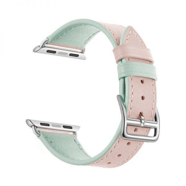 Genuine Leather bracelet strap for apple watch 4 5 44mm 40mm band 42mm 38mm double colors pulseira for iwatch correa 3/2/1