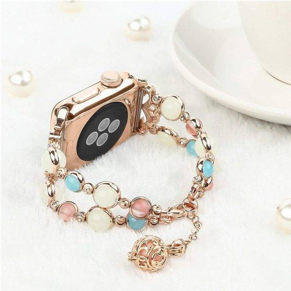 Luminous beads&bracelet for apple watch band 42mm 38mm 44mm 40mm correa stainless steel strap for iwatch pulseira 5/4/3/2/1