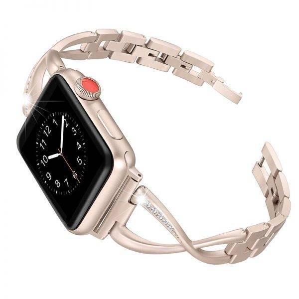 Bracelet Apple Watch Femme maillons sertie de strass