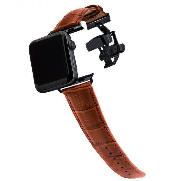 Genuine Leather strap for apple watch 6 band 44mm 40mm 42mm 38mm bracelet Butterfly buckle watchband for iwatch 6/SE/5/4/3/2/1