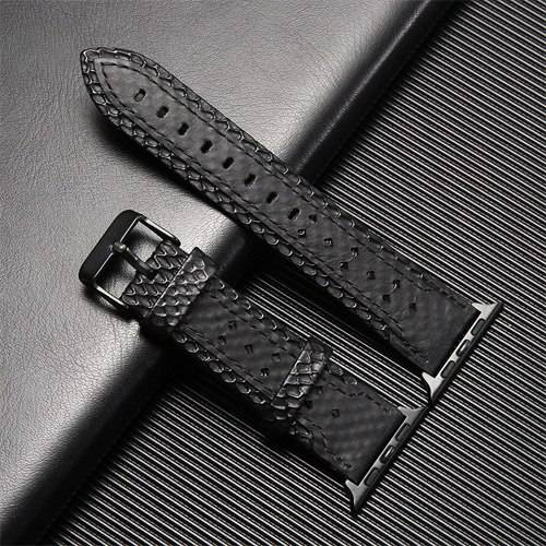 Bracelet en cuir véritable pour montre Apple