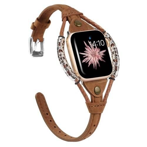 Bracelet cuir Apple Watch Femme design vintage
