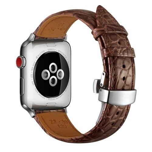 Bracelet alligator en cuir véritable boucle Papillon pour Apple Watch