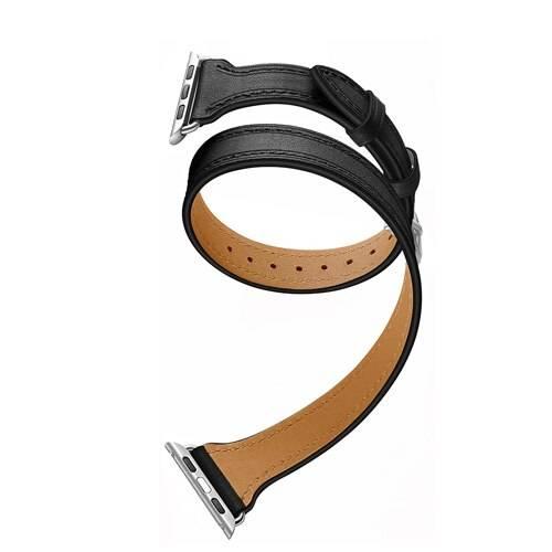 Bracelet Double Tour Apple Watch Femme Cuir véritable