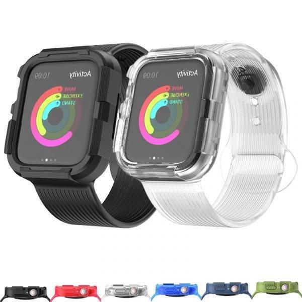 Bracelet et coque Anti-chute en Silicone pour Apple Watch 4 ou 5
