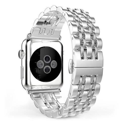 Bracelet maillons acier inoxydable à boucle papillon pour montre Apple