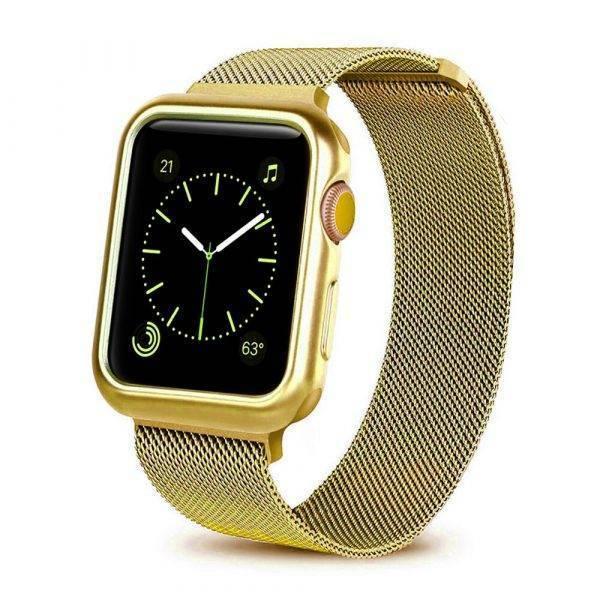 Bracelet maille Milanaise pour Apple Watch et sa coque de protection Bracelet Apple Watch Bracelets Apple Watch Milanais Bracelet Apple Watch Antichoc