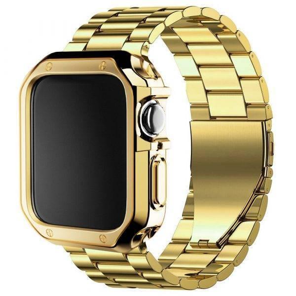 Bracelet pour Apple Watch acier inoxydable et coque de protection Bracelet Apple Watch Bracelets Apple Watch Maillons Acier Bracelet Apple Watch Antichoc