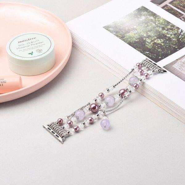 Bracelet Perles pour Apple Watch en acier et extensible Bracelets Apple Watch Femme Bracelet Apple Watch