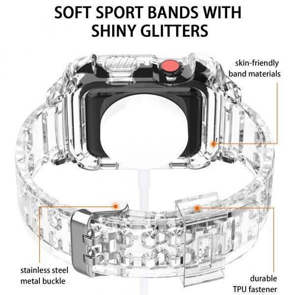 Bracelet pour Apple Watch et Coque de protection en Silicone Bracelet Apple Watch Bracelets Apple Watch Silicone et PVC Bracelet Apple Watch Antichoc